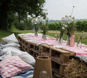 champêtre palettes location Pyrénées Atlantiques Pau Pays Basque Mobiliers décorations événement agence mariage réception